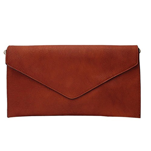 Envelope Wedding Dark Faux Leather Bag Ladies Clutch Evening Women Brown Style Purse New qTIASwzw