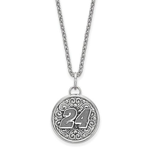 Sterling Silver Women's 24 Jeff Gordon NASCAR Jewelry Pendants & Charms 19 mm 18 in BALI TYPE ROUND PENDANT 18 SILVER CHAIN