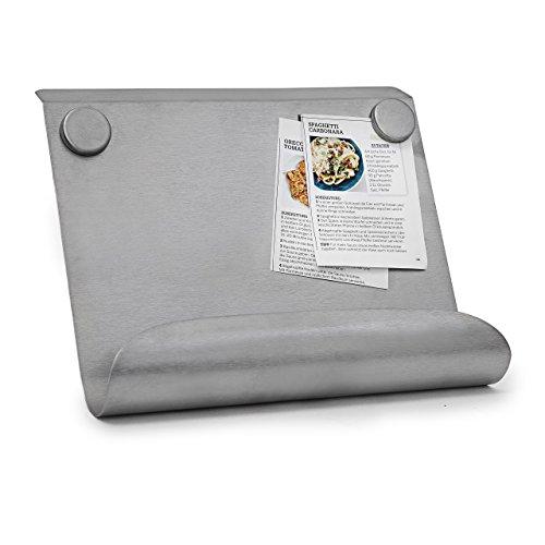 Relaxdays 10019250 Kochbuchhalter aus Edelstahl Kochbuchständer magnetisch mit 2 Magneten als Rezepte oder Metall Buchstütze für Kochbücher verschieden einstellbar, 24 x 26,5 x 9 cm, silber
