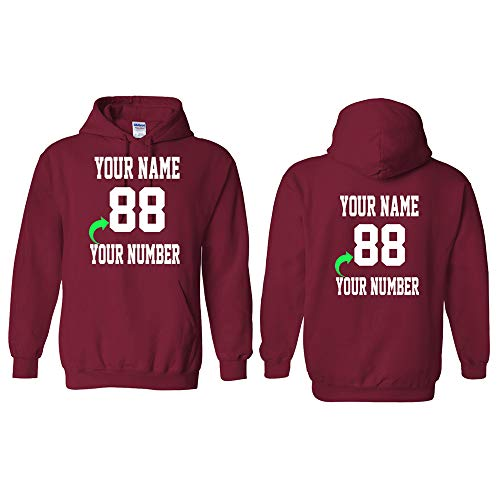 Personalized Hoodie with Custom Name and Number Unique Stylish Team Sports Gift Cardinal Red Adult-5X-Large
