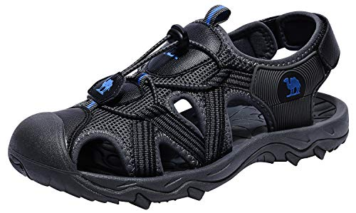 (CAMEL CROWN Sandals for Men Waterproof Closed Toe Water Shoes for Sport Hiking Outdoor Summer Beach Black 9.5)