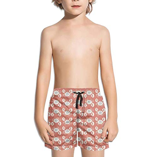 ZVASDVFXF Crab Design Poster White Swim Boys Beach Stretch Board Adjustable Shorts with - Crab Imported Meat