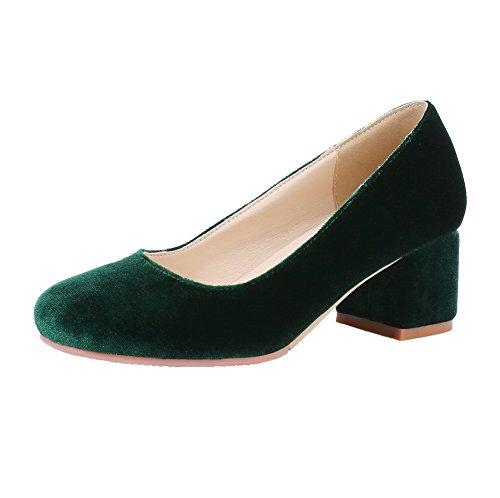 Allhqfashion Femmes Imitation Daim À Enfiler Kitten-heels Chaussures-chaussures À Talons