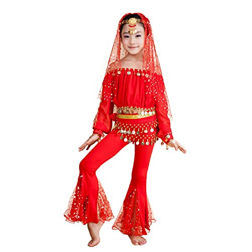 DREAMOWL 6PCS Girls Belly Dance Costumes Fancy Party Dance Sets with Head Chain (Red, (India Costume For Children)