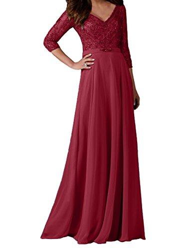Charmant Langarm Damen Partykleider Brautmutterkleider Perlen Neu Promkleider 2018 mit Weinrot Ballkleider Abendkleider qapqrBwT