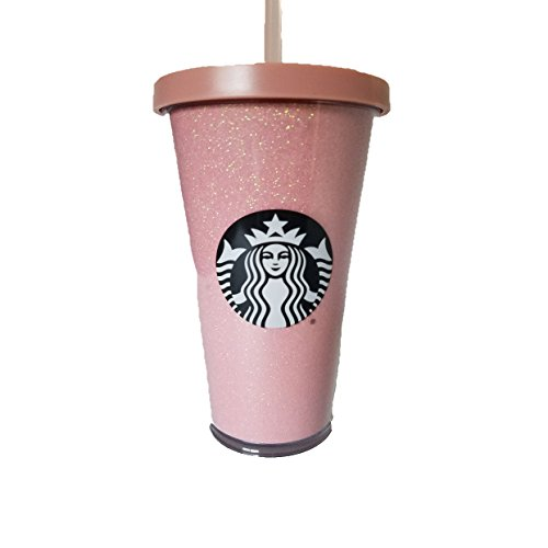 Starbucks Coffee Rose Gold Holiday 2017 Tumbler Pink Glitter 16oz Cold - Holiday Glitter