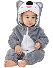MICHLEY Unisex Baby Hooded Flannel Romper Winter Animal Cosplay Costume Outfit