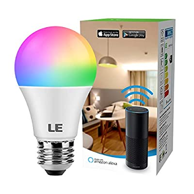 LE LampUX WiFi Smart Light Bulbs Works with Alexa, Google Assistant, IFTTT, 2.4G WiFi, RGBCW and CCT (2700-6500K Tunable White), Timer, Color Changing, Dimmable (1 Pack)