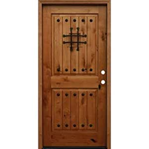Rustic 2 Panel Square Top V Grooved Stained Knotty Alder Entry Door Amazo