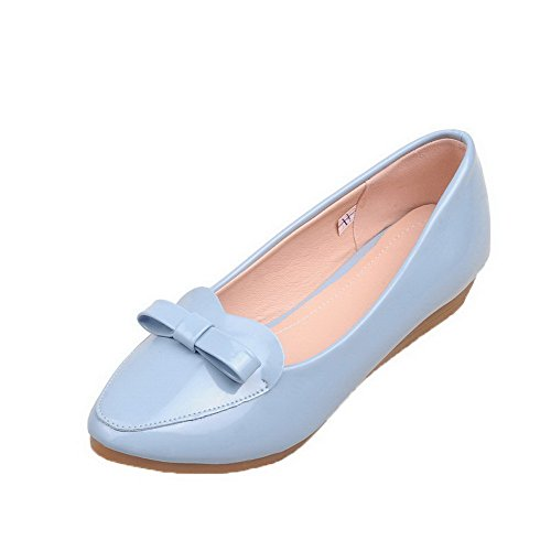 Odomolor Women's Solid Patent Leather Low-Heels Round-Toe Pull-On Pumps-Shoes, Blue, 40