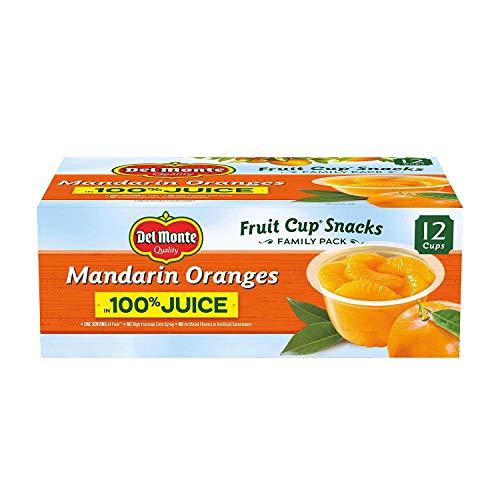 Del Monte Mandarin Orange Fruit Snack Cups in 100% Juice, 12-4oz Cups - PACK OF 2