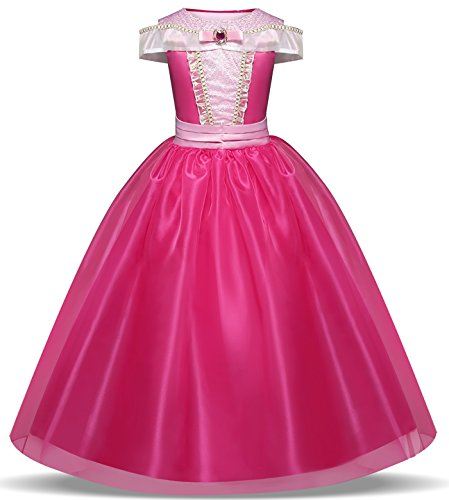 TTYAOVO Girls Princess Aurora Halloween Cosplay Dress up Costume Size 3-4 Years Rose