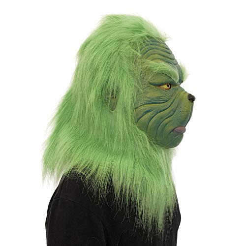 Soosch Cosplay Christmas Grinch Mask Melting Face Latex Costume Collectible Prop Scary Mask Toy -