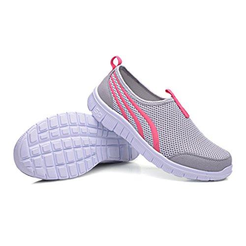 Ciervos Hombres Y Mujeres Zapatos De Malla, Al Aire Libre, Correr, Caminar, Senderismo, Zapatillas Gris-rojo