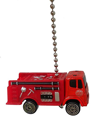 Maisto Red FIRE ENGINE TRUCK firetruck Ceiling FAN PULL light chain