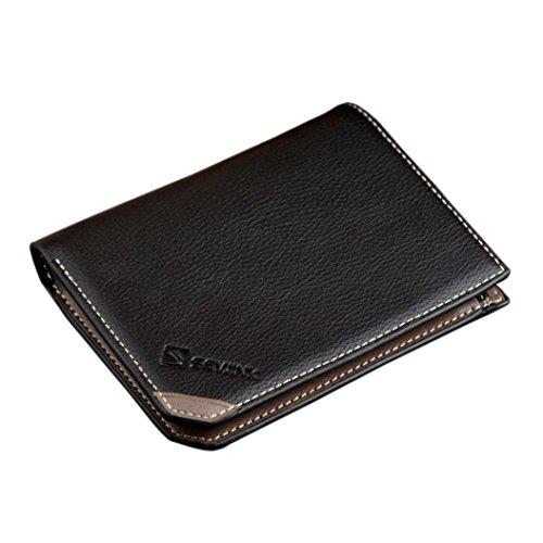 Men Wallet, Han Shi Men Fashion Open Coin Purse Short Wallet Card Holders Handbag Purse Flexible Wallet Large Travel Working Purse Pocket (Black)
