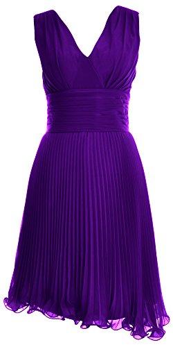 Short Women Chiffon Dress Violett Cocktail Formal Bridesmaid Neck V Dress MACloth Gown YSCRwqUw