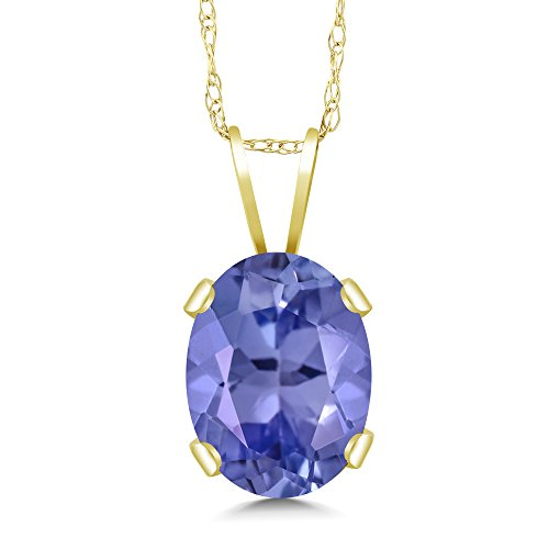 14k Oval Gemstone Pendant (1.16 Ct Oval Blue Tanzanite 14K Yellow Gold Gemstone Birthstone Pendant Necklace (8X6MM, With 18 Inch Chain))