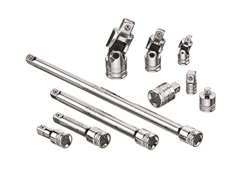 10pc Socket Accessory Set | ARES 71270 | Premium Chrome Vanadium Steel with Mirror Finish | Includes Socket Adapters, Extensions and Universal Joints