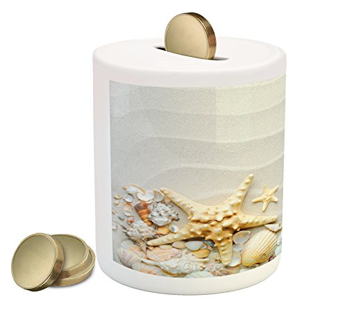 Ambesonne Starfish Piggy Bank By  Seacoast With Sand With Colorful Various Seashells Tropics Aquatic Wildlife Theme  Printed Ceramic Coin Bank Money Box For Cash Saving  Multicolor