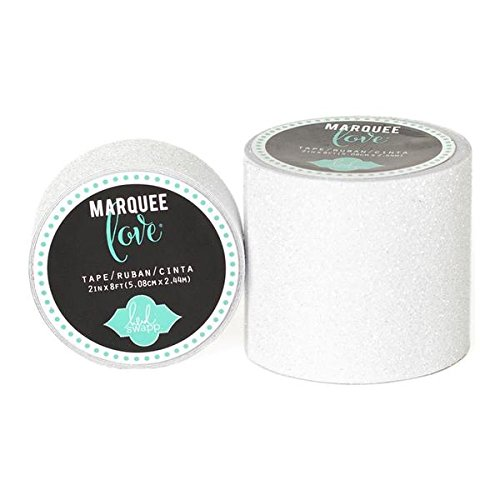 Brand New Heidi Swapp Marquee Love Washi Tape 2''-White Glitter, 8' Brand New