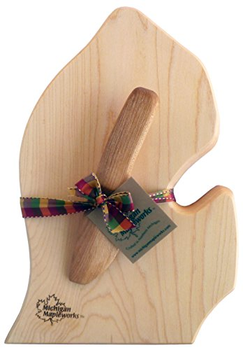 Michigan Lower Peninsula Mitt Shaped Gift Set Small Cutting Cheese Board with Cherry Wood Spreader Michigan Mapleworks