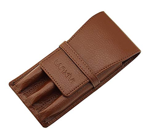 (Coffee Leather Pen Case Pouch 3 Separate Slot Pen Organizer Carrying)