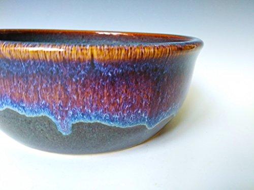 Handmade Serving / Mixing Bowl~ Stoneware Ceramic Pottery Dish ~ Kitchen Dinnerware ~ Stone Grey with Blue and Purple Swirl