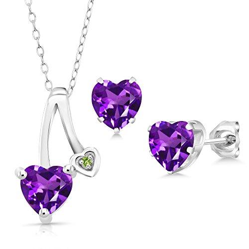 1.96 Ct Purple Amethyst Green Simulated Peridot 925 Silver Pendant Earrings Set (Stone Peridot Pendant 3 Amethyst)