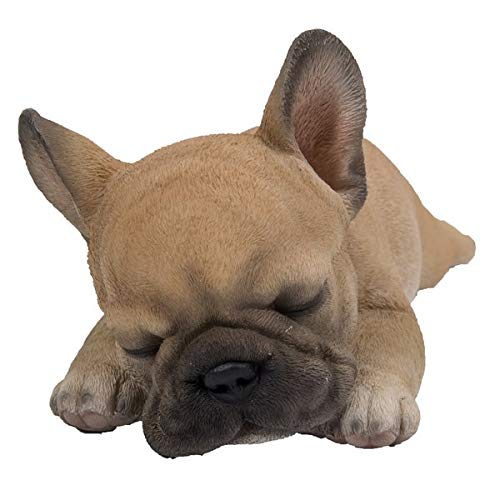 Puppy Dog Statue (French Bulldog - Sleeping Puppy French Bulldog Statue for Home and Garden Decor - Realistic Lifelike Animal Figurine Made of Polyresin - Colour : Beige - 3.7'' H x 4'' W x 8.5'' D)