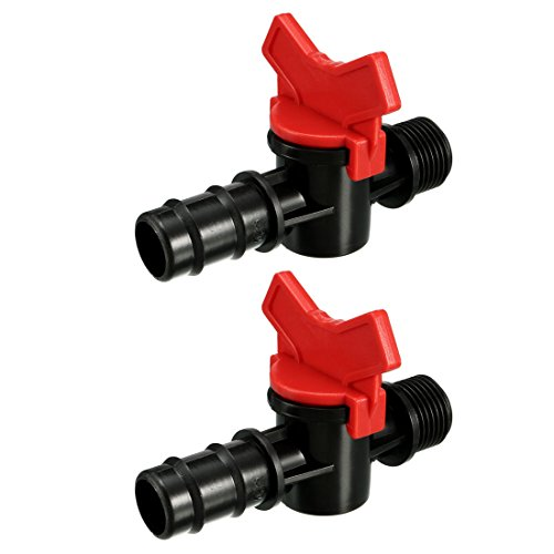 Male Connector Valve (uxcell 2pcs 1/2BSP Male to Barbed Watering Tubing Coupling Valve for Drip Irrigation)