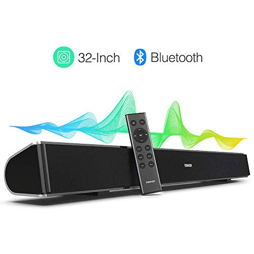 TENKER Soundbar for TV, 32-inch 4 Speakers Wired and Wireless Bluetooth 2-Channel Optical Soundbar, Home Theater Speakers for TV (Surround Sound, Remote Control, Wall Mountable) (Television Surround Sound)
