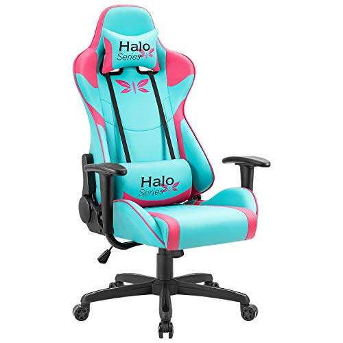 (Racing Style Gaming Chair High Back PU Computer Chair Ergonomic Adjustable Height Desk Chair Recliner Swivel Executive Office Chair with Headrest and Lumbar Support (Blue and Pink))