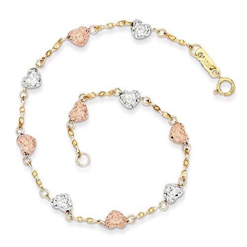 14k Tri Color Yellow White Gold Puff Heart Bracelet 7 Inch/love Fine Jewelry Gifts For Women For ()