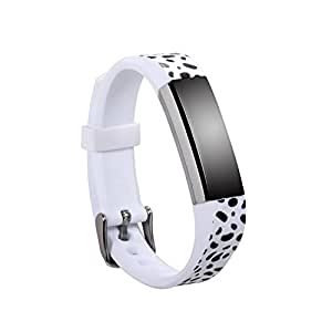 mtsugar 1PC Newest Fitbit Alta/Fitbit Alta HR Replacement Wristband with Secure Clasps (No Tracker, Replacement Bands Only) (Dalmatian)