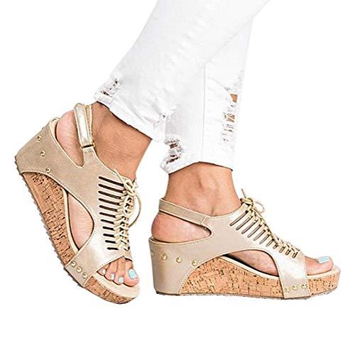 Alpargatas Playa Chancletas Zapatillas Mares Minetom Zapatos Beige Plataforma Gladiador Mujer Cuña Sandalias Planas Verano Tacon Romanas Sandals 67WP7FAxOt