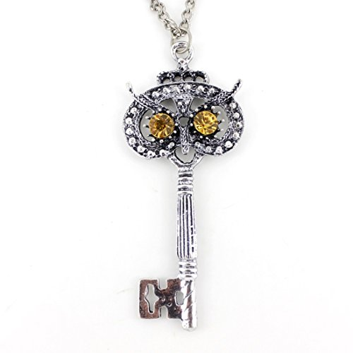 Exquisite Vintage Silver-tone Crystal Owl Key Pendant Necklace]()
