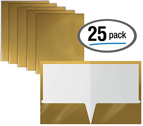 2 Pocket Glossy Laminated Metallic Gold Paper Folders, Letter Size, 25 Pack, Metallic Gold Paper Portfolios by Better Office Products, Box of 25 Metallic Gold Folders