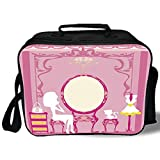Insulated Lunch Bag,Girls,Lady Sitting in front of French Cosmetic Make Up Mirror Furniture Dressy Design,Pink Yellow,for Work/School/Picnic, Grey