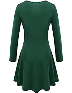 Aphratti Women's Long Sleeve Casual Slim Fit Crew Neck Dress