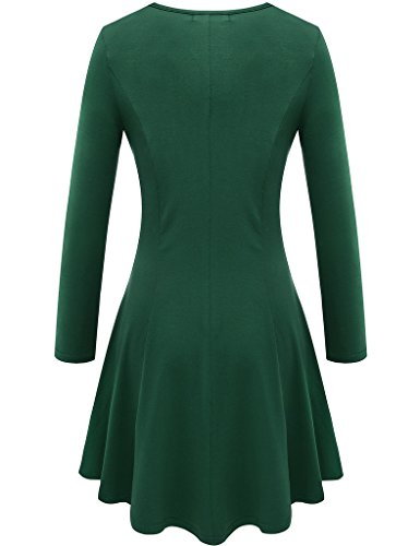 Green Crew Sleeve Aphratti Fit Casual Women's Long Dress Slim Neck ACwBxgq