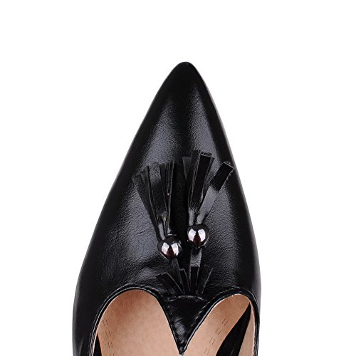 Black WeenFashion Women's Pointed Court Soild Heels Kitten Pu Toe Shoes wffxzaSq
