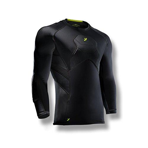 Storelli BodyShield Goalkeeper 3/4 Undershirt |Athletic Shirts Padded Against Impact |UV Resistant and Turf Burn Injuries |Sweat-Wicking |Youth Medium |Black