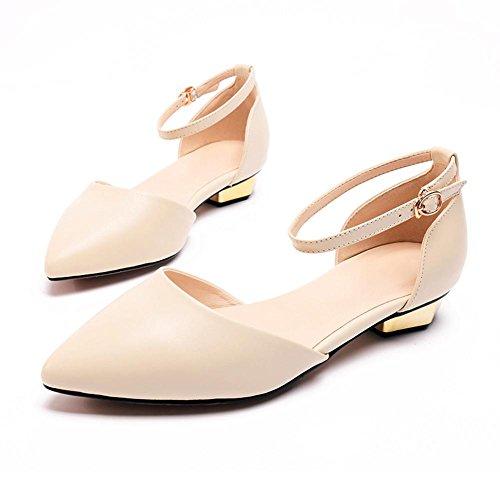 L@YC® Mujeres Puntiagudas Sandalias Palabra Hebilla Verano Fondo Plano Tacones altos Zapatos De Oficina Baile Vestir White
