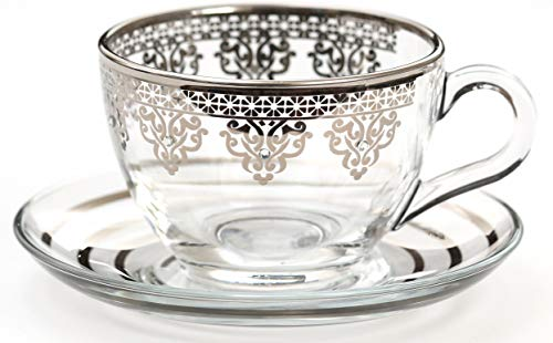 (Turkish Arabic Platinum Plated Tea Coffee Nescafe Cup Set of 6)