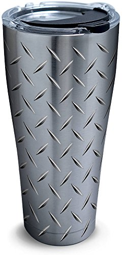 Diamond Tumbler - Tervis 1277992 Diamond Plate Stainless Steel Tumbler with Clear and Black Hammer Lid 30oz, Silver