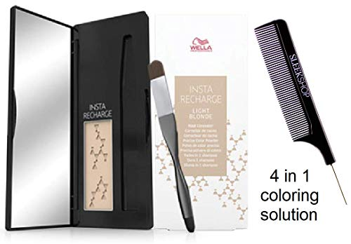 Wella INSTA RECHARGE Root Concealer, Precise Color Powder (STYLIST KIT) Fades in 1 Shampoo, 0.07 oz / 2.1 g (LIGHT BLONDE) (Lite Recharge)