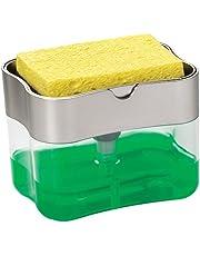 S&T Schroeder & Tremayne Soap Pump Dispenser and Sponge Holder, 13 Ounces, Silver (592401)