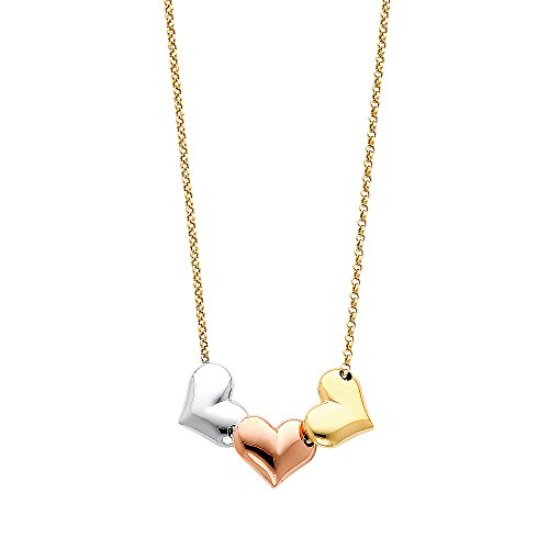 Solid 14K Tri-color Gold Three Heart Necklace - (Heart Tri Color Necklace)