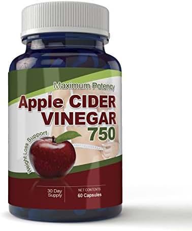 Maximum Potency 750mg Apple Cider Vinegar 60 Capsules - All Natural Weight Loss, Detox, Digestion & Circulation Support - Includes Bonus Diet eBook